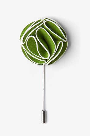 Green Piped Flower Lapel Pin