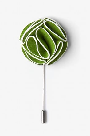 _Green Piped Flower Lapel Pin_
