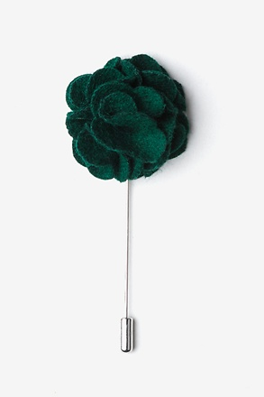 Green Wool Felt Flower Lapel Pin