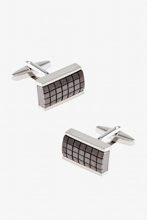 _Framed Rectangle Grid Cufflinks_
