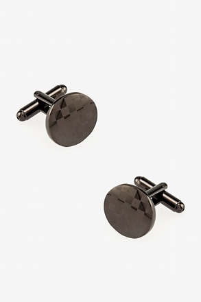 Monochrome Check Round Gunmetal Cufflinks