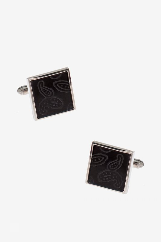 Patterned Square Gunmetal Cufflinks Photo (0)