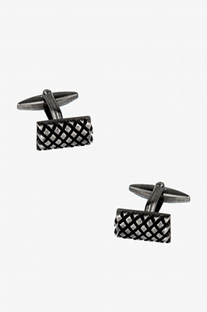 _Raised Criss-Cross Rectangle Cufflinks_