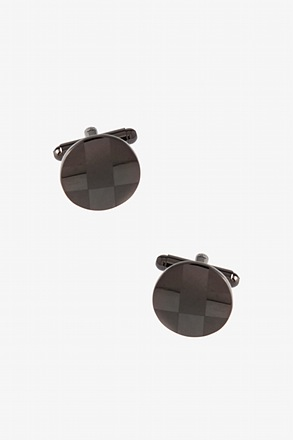 Round Monochrome Check Cufflinks
