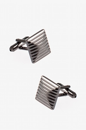 Square Striped Peak Cufflinks