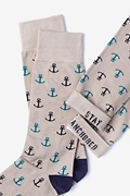 Stay Anchored Heather Brown Sock Photo (3)