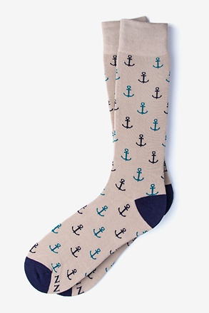 _Stay Anchored Heather Brown Sock_