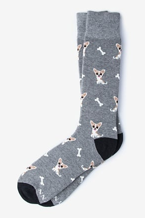 Chihuahua Dog Heather Gray Sock