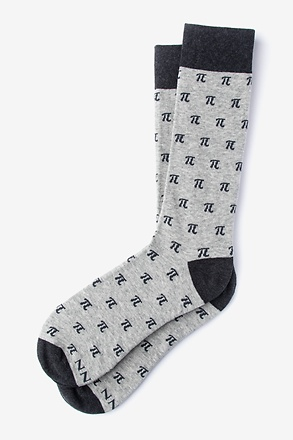 Pi Symbols Heather Gray Sock