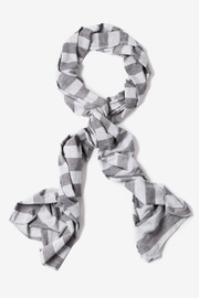 Heather Gray Polyester Caravan Stripe Scarf