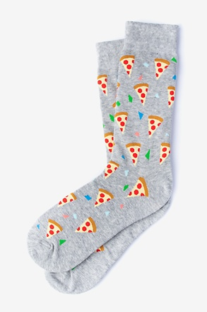 _Pizza Party Heather Light Gray Sock_