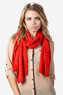 Heather Red Acrylic Heathered Solid Knit Scarf