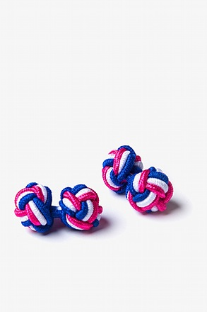 _Tri-Color Knot Hot Pink Cufflinks_