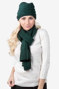 Basketweave Hunter Green Scarf And Hat Set