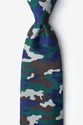 _Camouflage Woodland Hunter Green Extra Long Tie_