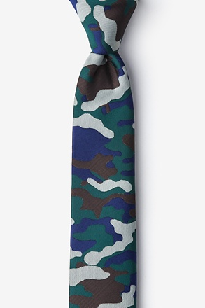 _Camouflage Woodland Hunter Green Skinny Tie_