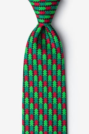 _Christmas Tree Abstract Hunter Green Extra Long Tie_