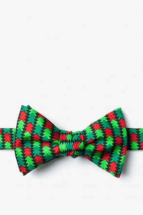 Christmas Tree Abstract Hunter Green Self-Tie Bow Tie