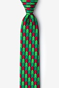 Hunter Green Microfiber Christmas Tree Abstract Skinny Tie