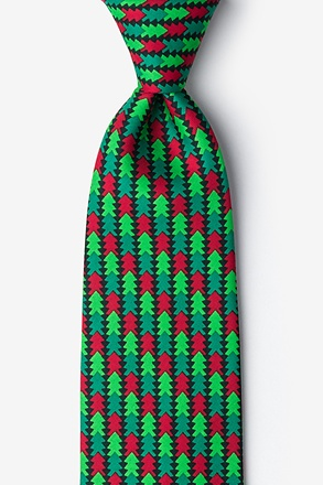 _Christmas Tree Abstract Hunter Green Tie_