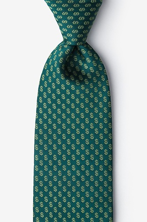 _Dollar Signs Hunter Green Extra Long Tie_