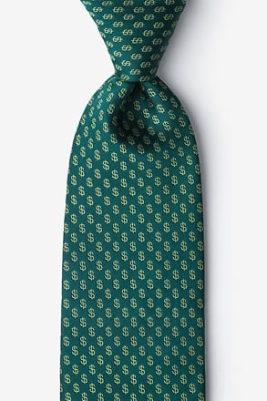 Dollar Signs Hunter Green Tie