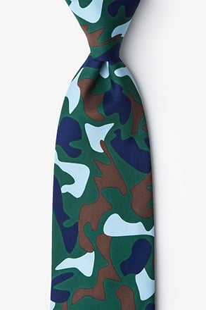 _Street Camo Hunter Green Extra Long Tie_