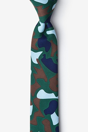 _Street Camo Hunter Green Skinny Tie_