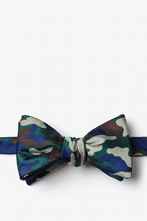 Woodland Camo Hunter Green Self-Tie Bow Tie