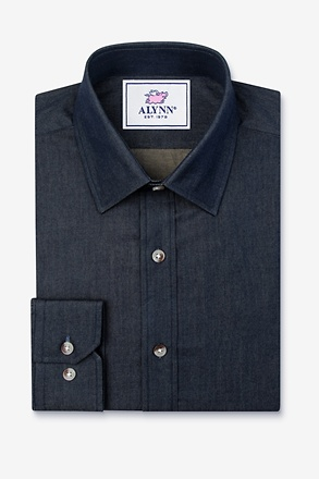 _Liam Denim Indigo Classic Fit Untuckable Dress Shirt_