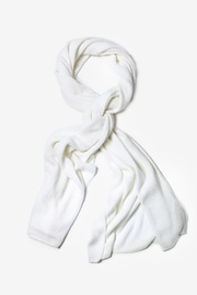 Ivory Acrylic Heathered Solid Knit Scarf
