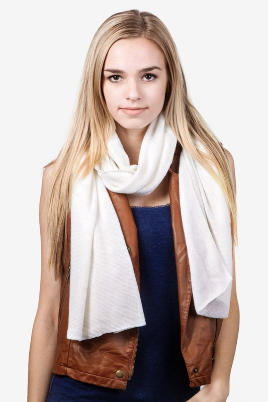 Heathered Solid Ivory Knit Scarf by Scarves.com