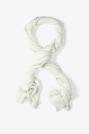 Mens Heathered Solid Ivory Knit Scarf