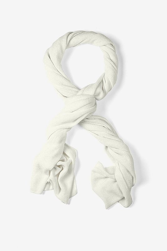 Mens Heathered Solid Ivory Knit Scarf Photo (0)