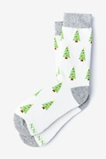 Ivory Carded Cotton Christmas Tree Women's Sock