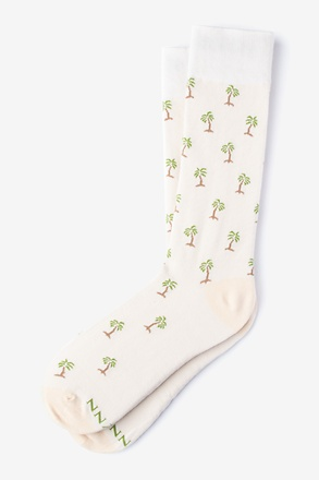 _Palm Trees Ivory Sock_