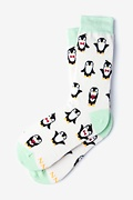 Ivory Carded Cotton Penguins Are Chill Women's Sock