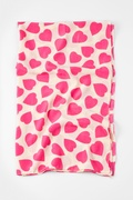 Hot Pink Hearts Ivory Scarf by Scarves.com