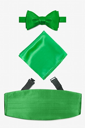 _Kelly Green Self Tie Bow Tie Cummerbund Set_
