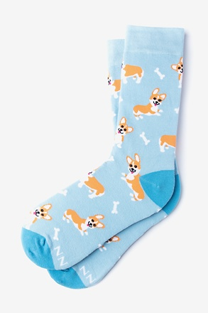 _Corgi Gang Light Blue Women's Sock_