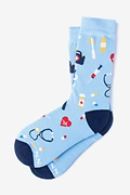 Light Blue Carded Cotton Doctor Medical Women's Sock