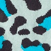 Light Blue Carded Cotton Leopard Sock