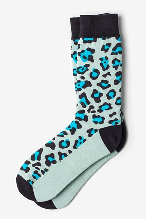 Leopard Light Blue Sock
