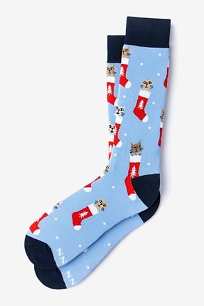 _Meowy Christmas Light Blue Sock_