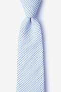 Light Blue Cotton Cheviot Extra Long Tie