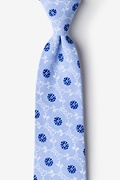 Light Blue Cotton La Grande Extra Long Tie