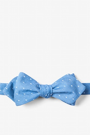 Light Blue Huntington Polka Dots Diamond Tip Bow Tie