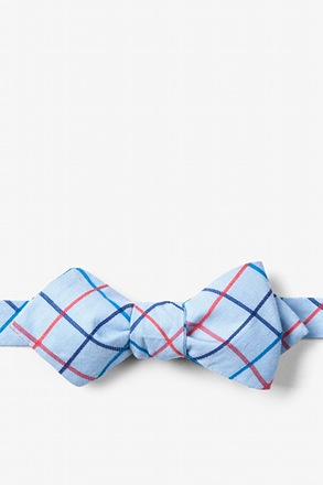 Light Blue Reece Check Diamond Tip Bow Tie