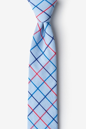 _Light Blue Reece Check Skinny Tie_