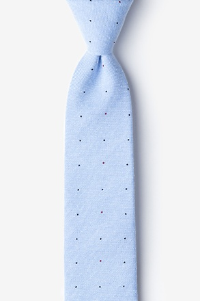 Light Blue Warner Cotton Polka Dots Skinny Tie